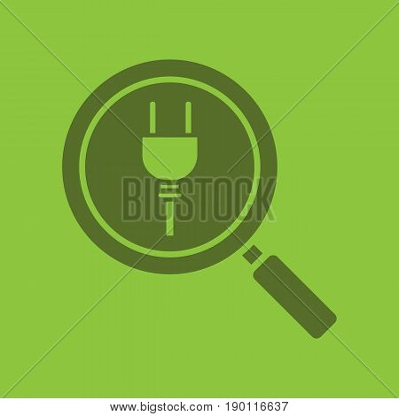 Magnifying glass with plug glyph color icon. Silhouette symbol. Search. Negative space. Vector isolated illustration