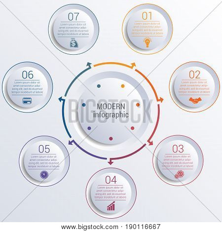 Vector template for infographic diagram with 7 options circles.