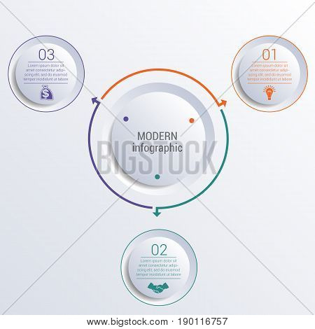 Vector template for infographic diagram with 3 options circles.