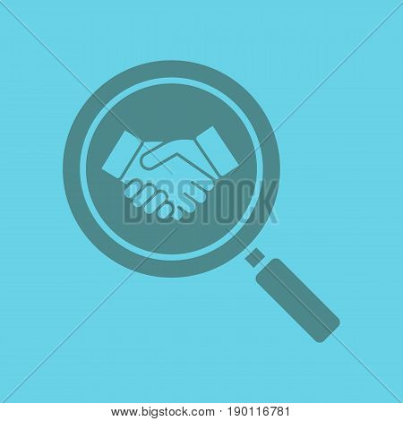Business partner search glyph color icon. Silhouette symbol. Magnifying glass with handshake. Negative space. Vector isolated illustration