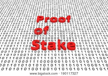 Proof of stake as a binary code 3D illustration