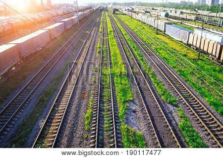 Railway At The Marshalling Yard Sunset, Freight Train Railway Carriage.