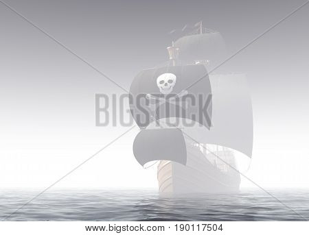 Pirate Ship In The Fog. 3D Illustration.