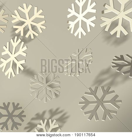 Soft 3D bevel snowflakes over dark background