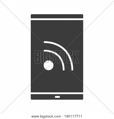 Smartphone rss feed glyph icon. Silhouette symbol. Negative space. Vector isolated illustration