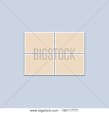 Unbroken vintage sheet of four postage stamps. Set of stamps on a light background with a shadow. Vector illustration.