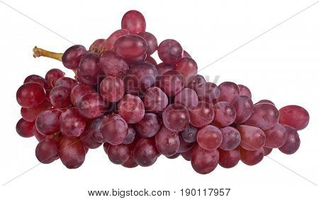 red ripe grapes isolated on white background