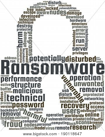 Ransomware Word Cloud Text Illustration in shape of Padlock. Network Security keyword tags isolated vector. Transparent.