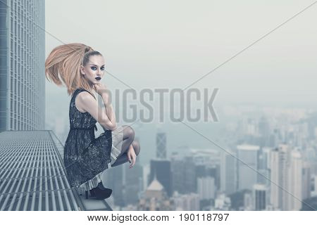 Sad Fashion Model On The Rooftop