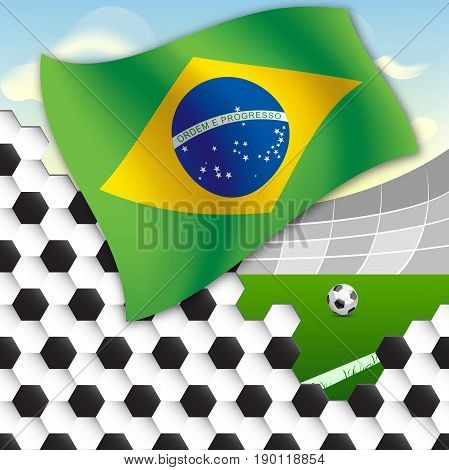 Flag of Brazil against the backdrop of the stadium football field and the ball