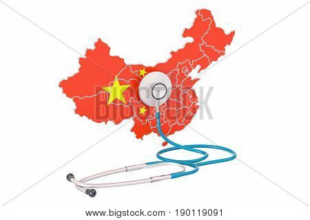 Chinese map with stethoscope national health care concept 3D rendering