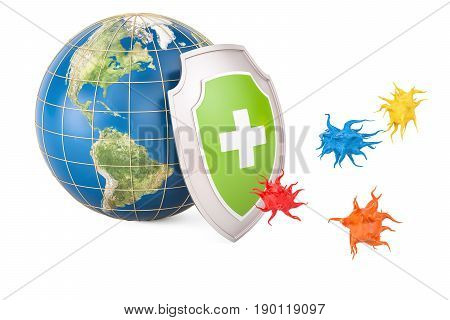 Earth globe with shield protection from virus concept. 3D rendering