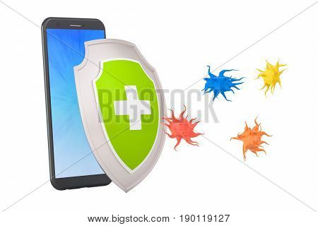 Phone security and antivirus protection concept 3D rendering