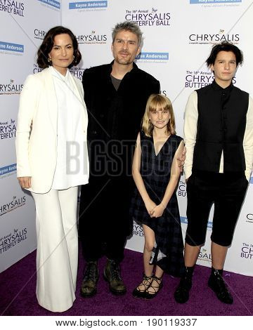 LOS ANGELES - JUN 3:  Rosetta Getty, Balthazar Getty, Violet Getty, June Getty at the 16th Annual Chrysalis Butterfly Ball at the Private Estate on June 3, 2017 in Los Angeles, CA