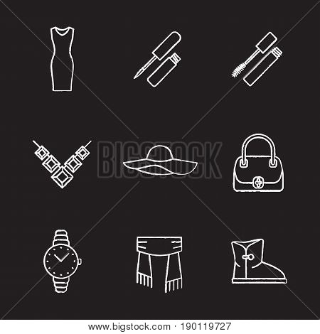 Women's accessories chalk icons set. Evening dress, lipstick, mascara, necklace, hat, hair brush, wristwatch, scarf, warm boot. Isolated vector chalkboard illustrations