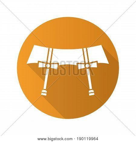 Underwear garters flat design long shadow icon. Vector silhouette symbol