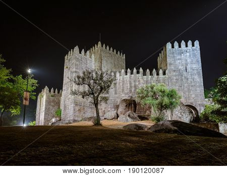 Castle in town Guimaraes - Portugal - architecture background