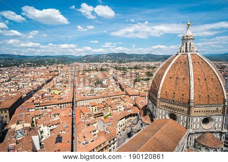 Aerial View Of Florence, Italy. With Florence Duomo Cathedral. Basilica Di Santa Maria Del Fiore Or