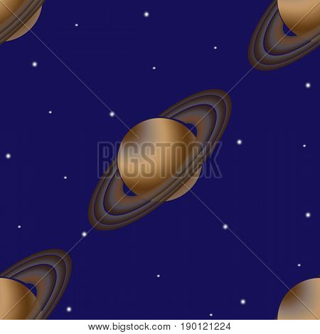 Saturn with its orbital rings as the seamless background. This planet of the solar system is depicted against a dark blue background of deep space with shining stars. Usable as background or wallpaper