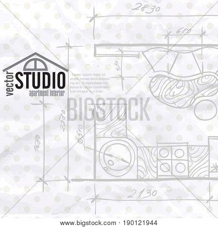 Interior Drawing Kithen Plan, Eps 10 Vector Illustration