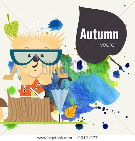 Cartoon Hedgehog, Hipster Style, Eps 10 Vector Illustration