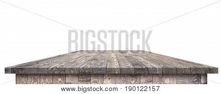 Large dinner empty wood table perspective with clipping path. Wood table texture background. Wood table worktop. Empty wood table perspective with clipping pass. Wood table perspective for design. Wood table surface. Rustic wood table perspective on white