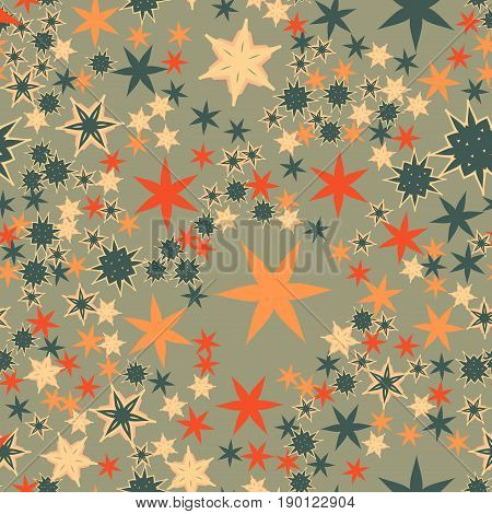 Vintage Warpink Paper Tile. Seamless texture with many stylized flowers and stars.