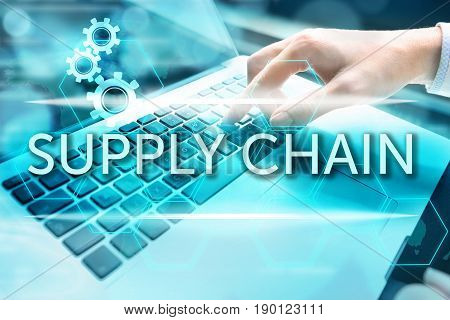 Supply chain management concept. Woman's hand using computer keyboard with related keywords and signs over business background.