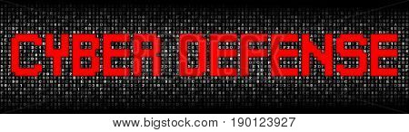 Cyber Defense text on hex code illustration