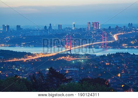 15th July Martyrs Bridge Bosphorus Bridge in a dusk Istanbul Turkey