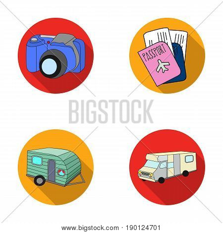 Vacation, photo, camera, passport .Family holiday set collection icons in flat style vector symbol stock illustration .