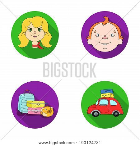 Camping, woman, boy, bag .Family holiday set collection icons in flat style vector symbol stock illustration .