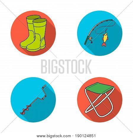 Fishing, fish, catch, fishing rod .Fishing set collection icons in flat style vector symbol stock illustration .
