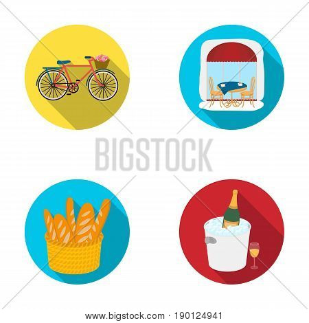Bicycle, transport, vehicle, cafe .France country set collection icons in flat style vector symbol stock illustration .