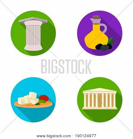 Greece, country, tradition, landmark .Greece set collection icons in flat style vector symbol stock illustration .