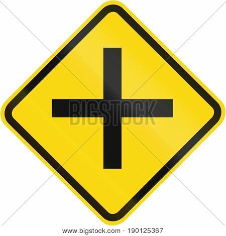 Road Sign Used In Brazil - Side Road Junction Uncontrolled