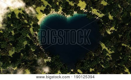 Heart shape lake seen from above between trees. 3D illustration