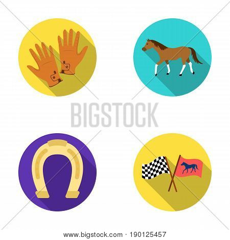 Race, track, horse, animal .Hippodrome and horse set collection icons in flat style vector symbol stock illustration .