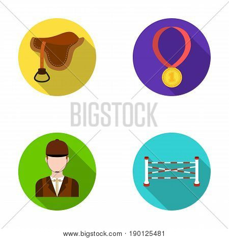 Saddle, medal, champion, winner .Hippodrome and horse set collection icons in flat style vector symbol stock illustration .
