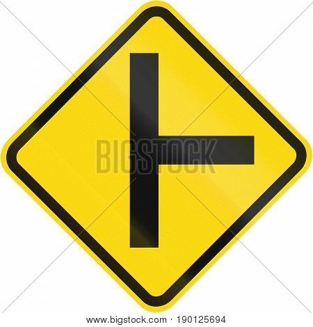 Road Sign Used In Brazil - Side Road Junction Uncontrolled On Right