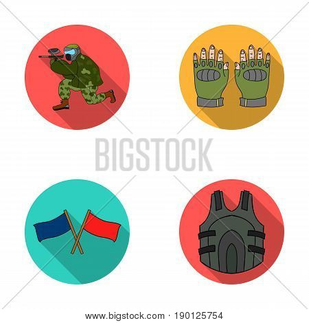 Sport, game, paintball, competition .Paintball set collection icons in flat style vector symbol stock illustration .