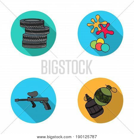 Competition, contest, equipment, tires .Paintball set collection icons in flat style vector symbol stock illustration .