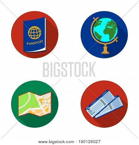 Vacation, travel, passport, globe .Rest and travel set collection icons in flat style vector symbol stock illustration .
