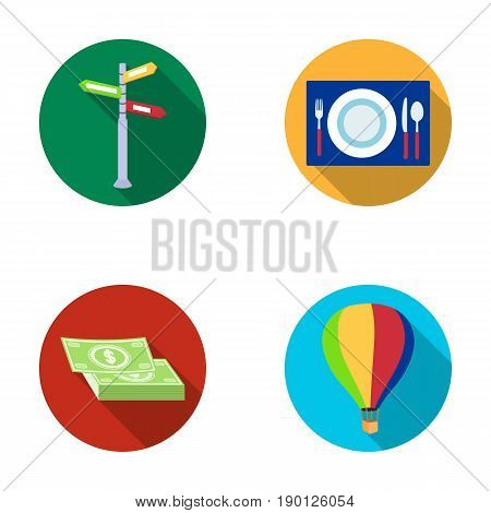 Vacation, travel, pointer, way, navigation .Rest and travel set collection icons in flat style vector symbol stock illustration .