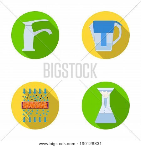 Filter, filtration, nature, eco, bio .Water filtration system set collection icons in flat style vector symbol stock illustration .