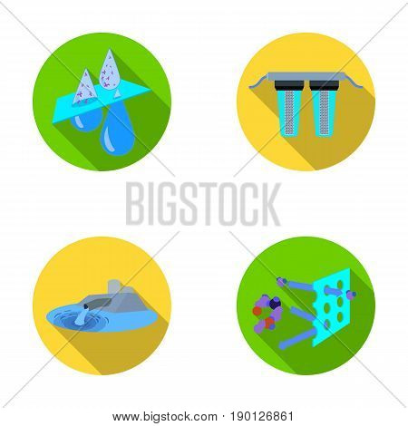 Purification, water, filter, filtration .Water filtration system set collection icons in flat style vector symbol stock illustration .