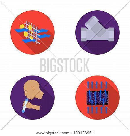 Man, bald, head, hand .Water filtration system set collection icons in flat style vector symbol stock illustration .