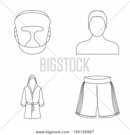 Boxing, sport, mask, helmet .Boxing set collection icons in outline style vector symbol stock illustration .