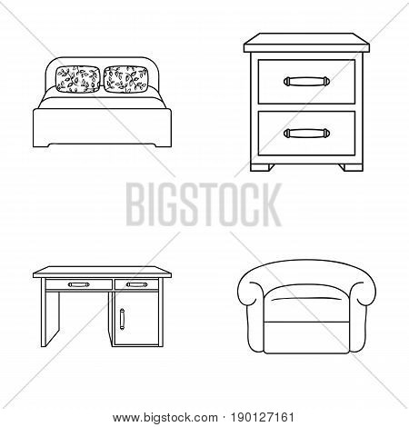 Interior, design, bed, bedroom .Furniture and home interiorset collection icons in outline style vector symbol stock illustration .