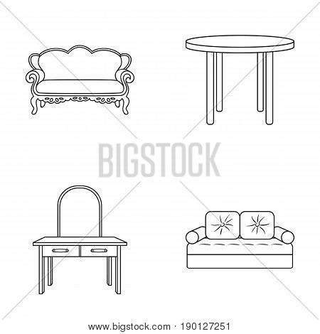 Sofa, armchair, table, mirror .Furniture and home interiorset collection icons in outline style vector symbol stock illustration .